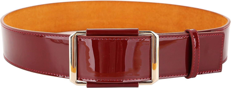 Ayli Women's Metal Buckle Wide Waist Belt Shiny Patent Leather Cinch Belt