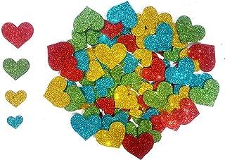 Kochartz Glitter EVA Foam 104 Pieces Self Adhesive Heart Shape Stickers for Art & Craft Decoration (Multicolour, GEFS01HRT)