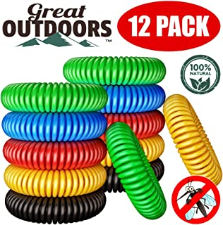 GREAT OUTDOORS Natural Mosquito Repellent Bracelets, Insect Bug Protection up to 300 Hours Bands, Deet-Free Wristband, Pest Control Bands for Kids & Adults, 12 Pack