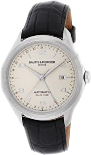 Baume & Mercier Clifton Dual Time Silver Dial Automatic Winding Alligator Leather Back Cover Skeleton Men Watch MOA10112