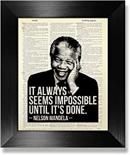 It Always Seems Impossible Until It's Done, Nelson Mandela Poster, Motivational Wall Art for Office Gift for Coworker, Motivational Poster for Classroom High School Middle School, Original Artwork