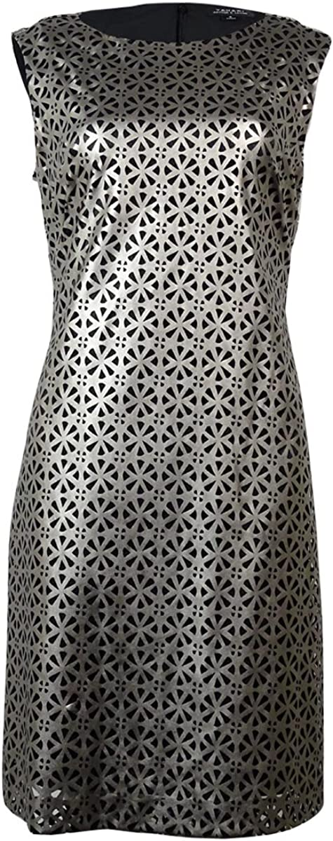 TAHARI Women's Laser-Cut Sleeveless Dress