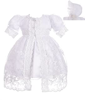 Dressy Daisy Baby Girls' Baptism Dress Christening Gown with Cape Bonnet Embroidered Christening Outfit for Girls
