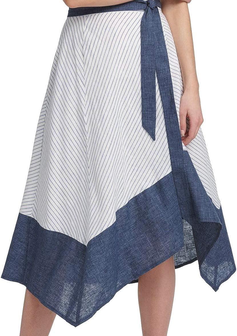 DKNY Women's Skirt Belted Handkerchief Asymmetrical Hem White 12