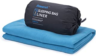 Browint Coolmax Sleeping Bag Liner, Travel and Camping Sheet Coolmax, Stretchy Jersey Travel Sheet for Hotels, Moisture Wicking Sheets, Super Soft