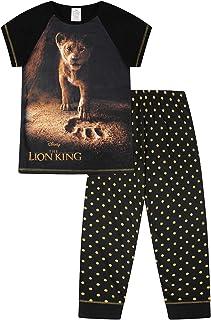 Pijama largo con diseño de El Rey León, para niña, de 6 a 14 años, diseño de lunares, color negro y dorado