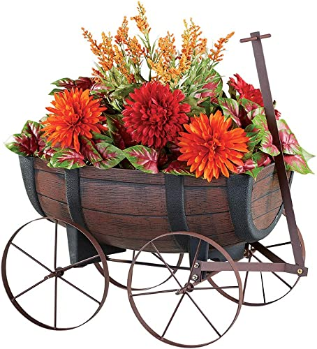 high quality Collections Etc Faux Wood online Nostalgic Barrel Wagon Planter with Handle new arrival and Drainage Hole at The Bottom online