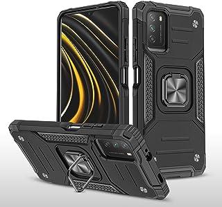 Xiaomi Poco M3 用 ケース 360度回転 スタンド機能 磁気カーマウント マグネット式 車載ホルダー 擦り傷防止 落下防止 専用 保護カバーXiaomi Poco M3用カバー、ブラック