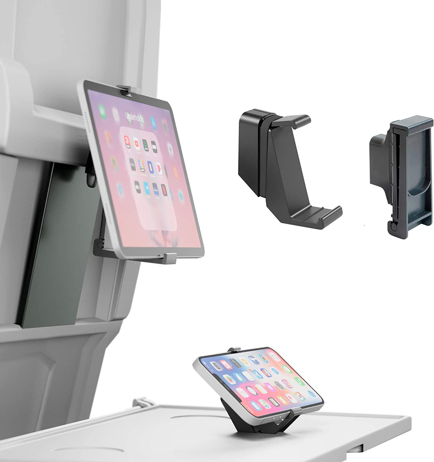 AIRMATE Duo - Combi Pack with Airplane Phone Holder & Tablet Stand - Adjustable Tablet Phone Stand for Travel - Kit with iPhone iPad Stand for Airplane - Practical Mobile Phone Tablet Stand