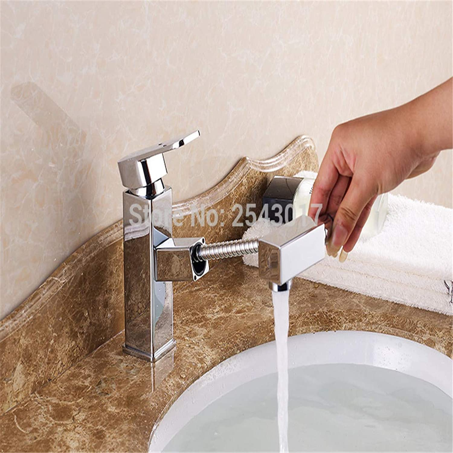 Luxury Modern Hot and Cold Faucet Vintage Platingbasin Pull Out Faucet Chrome Finish Bathroom Flexible Square Mixer Crane