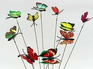 SecretRain Diseño de Hada del jardín en Miniatura Botes para Especias de Flores diseño con Texto en inglés de Maceta 10 Piezas de Colores Brillante de Mariposa de Vinilo