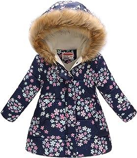 Haokaini Manteau d'hiver en coton et fausse fourrure chaude à capuche coupe-vent - Rembourré - Motif à fleurs - pour fille...