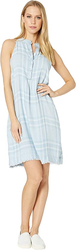 Frayed Pleat Front Printed Halter Dress