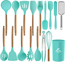 MIBOTE 17PCS Silicone Cooking Kitchen Utensils Set with Holder, Wooden Handles Cooking Tool BPA Free Non Toxic Turner Tongs Spatula Spoon Kitchen Gadgets Set for Nonstick Cookware (Green)
