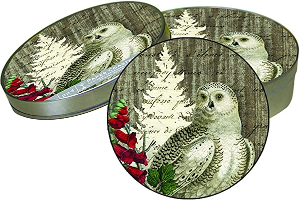 Paperproducts Design Winter Woods Owl 12 Coaster Set In Tin Box Multicolored