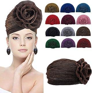 قبعة عمامة ملفوفة على الراس بتصميم زهرة كبيرة لامعة للنساء من بلو بابل، قبعة صغيرة