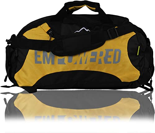 EMP Men s Gym Polyester Backpack Cum Gym Bag for Travel Sports Duffel Bags with Separate Shoes Compartment Black Black Yellow