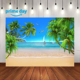 Photography Backdrop for Summer Pictures, Tropical Seaside Scenery Palm Trees Boat Beach Background, for Themed Party Baby Children Photo Studio Props 9x6FT Backdrops LULX016