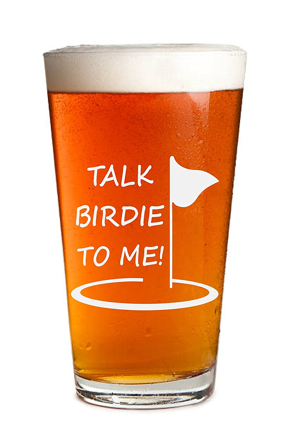 Talk Birdie To Me - 1 Pack - Engraved Beer Glass - Golf Gift - Golfer Beer Glass - 16oz Clear Pint/Mixing Glass - Funny Gifts for Men and Women by Sandblast Creations