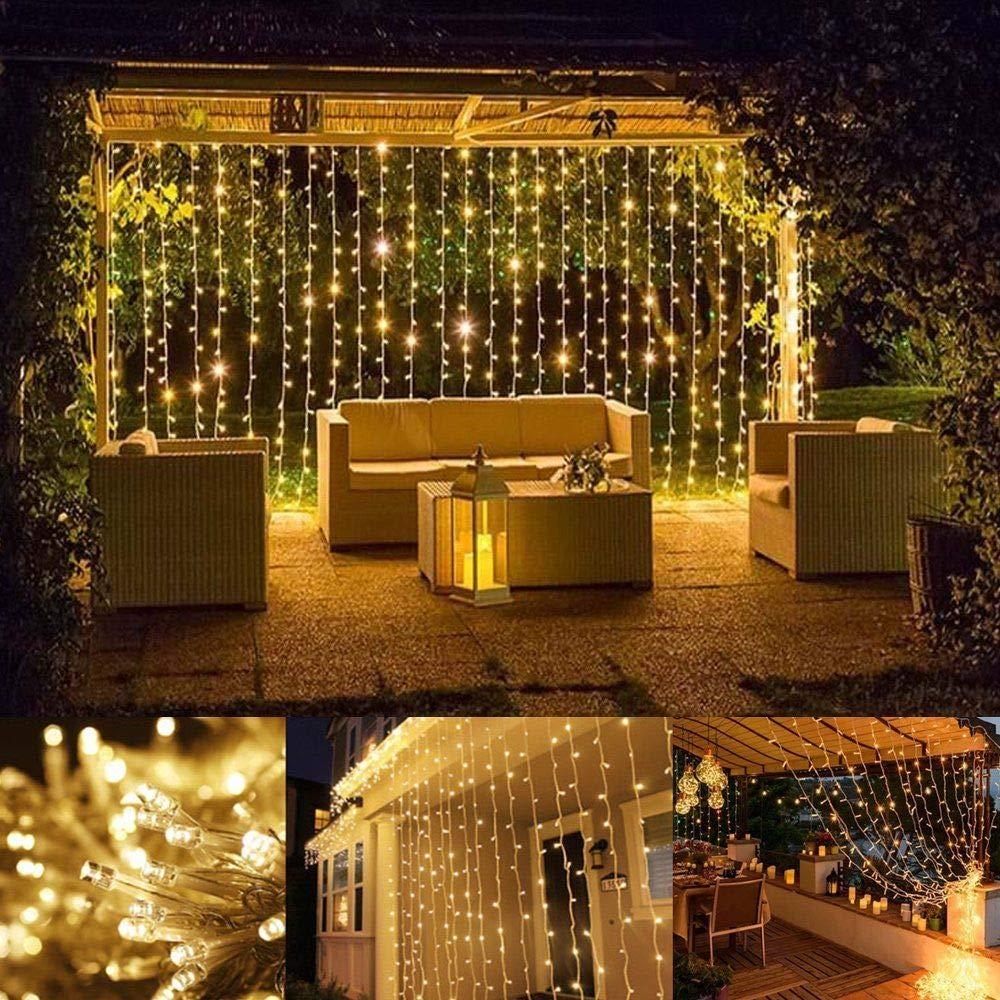 OxyLED Guirnaldas Luces Exterior,306 LED Luces LED para Exteriores y Interior,3m X 3m Guirnaldas Luces Exterior,8 Modos Luces Decorativas para Jardín,Fiestas,Bodas,Habitaciones,Navidad,Blanco Cálido: Amazon.es: Iluminación