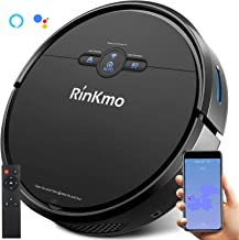 Rinkmo Robot Vacuum Cleaner, 1800pa Robotic Vacuum Strong Quiet Suction 130 Min Runtime with Water Tank Self-Charging WiFi Alexa and Google Assistant Remote Control for Pet Hair Carpets Hard Floors