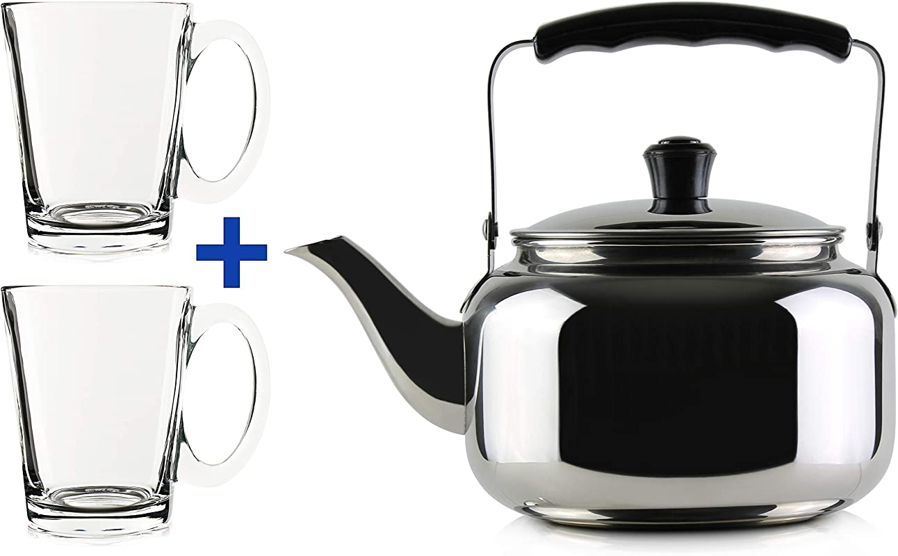 44 Oz Stainless Steel Classic Tea Kettle W Two 8 Oz Clear Glass Tea Cups