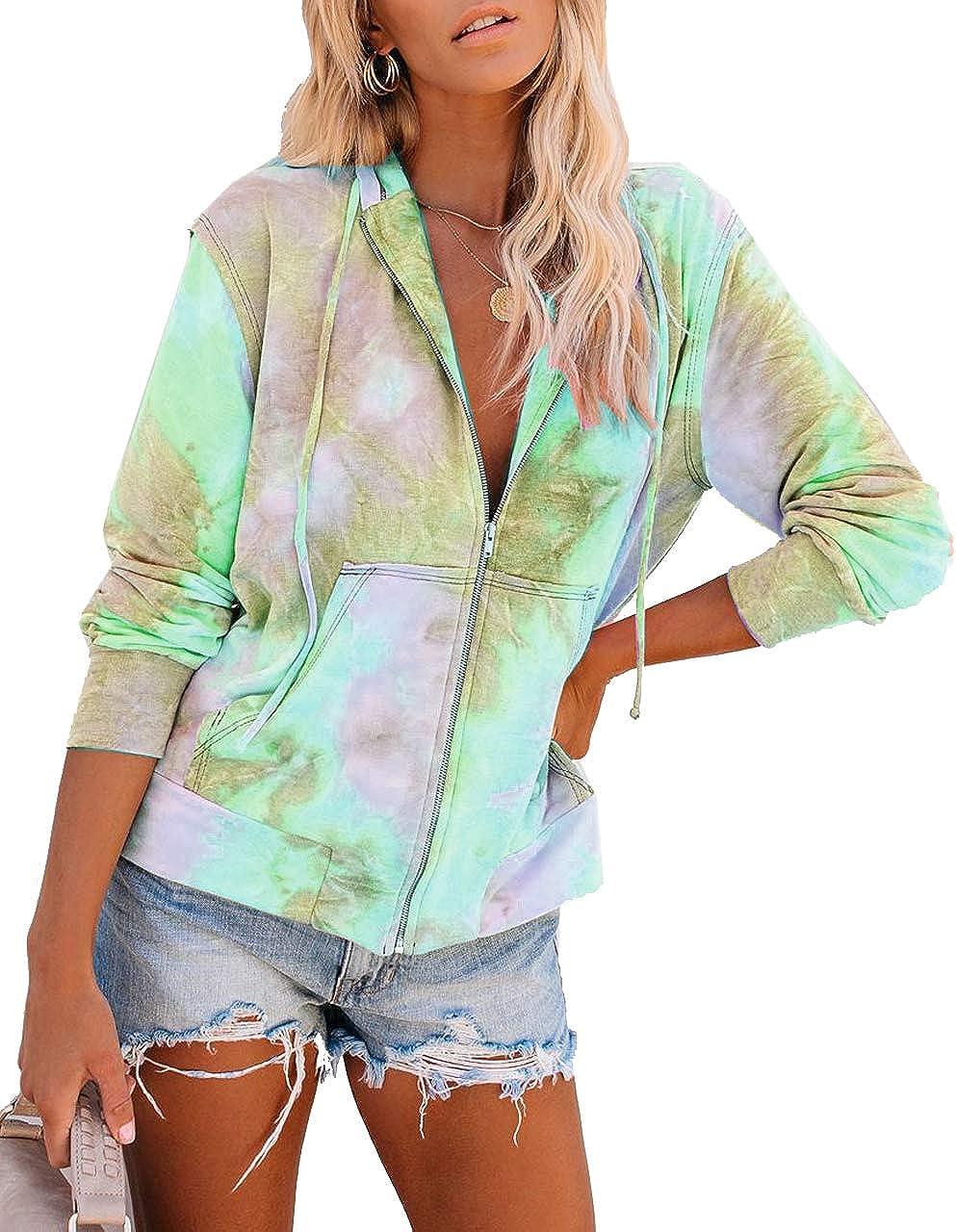 CCBSTS Women Tie Dye Zip-Up Hoodie Jackets Long Sleeve Plus Size Sweatshirt Coats with Pockets