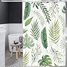Jungle Shower Curtain Set, Waterproof Decorative Bath Curtain with 12 Hooks, Modern Bathroom Accessories, 72''x72'' (Tropi...