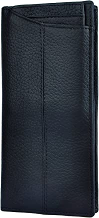 Le'aokuu Mens Genuine Leather Bifold Organizer Checkbook Card Case Wallet (The Black)