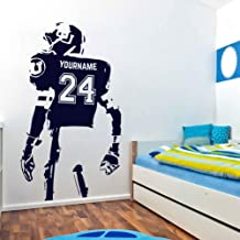 football player wall decal life size football player wall decoration Personalized Name and Number Custom stickers boy's name wall art for Boy's Room ik3345