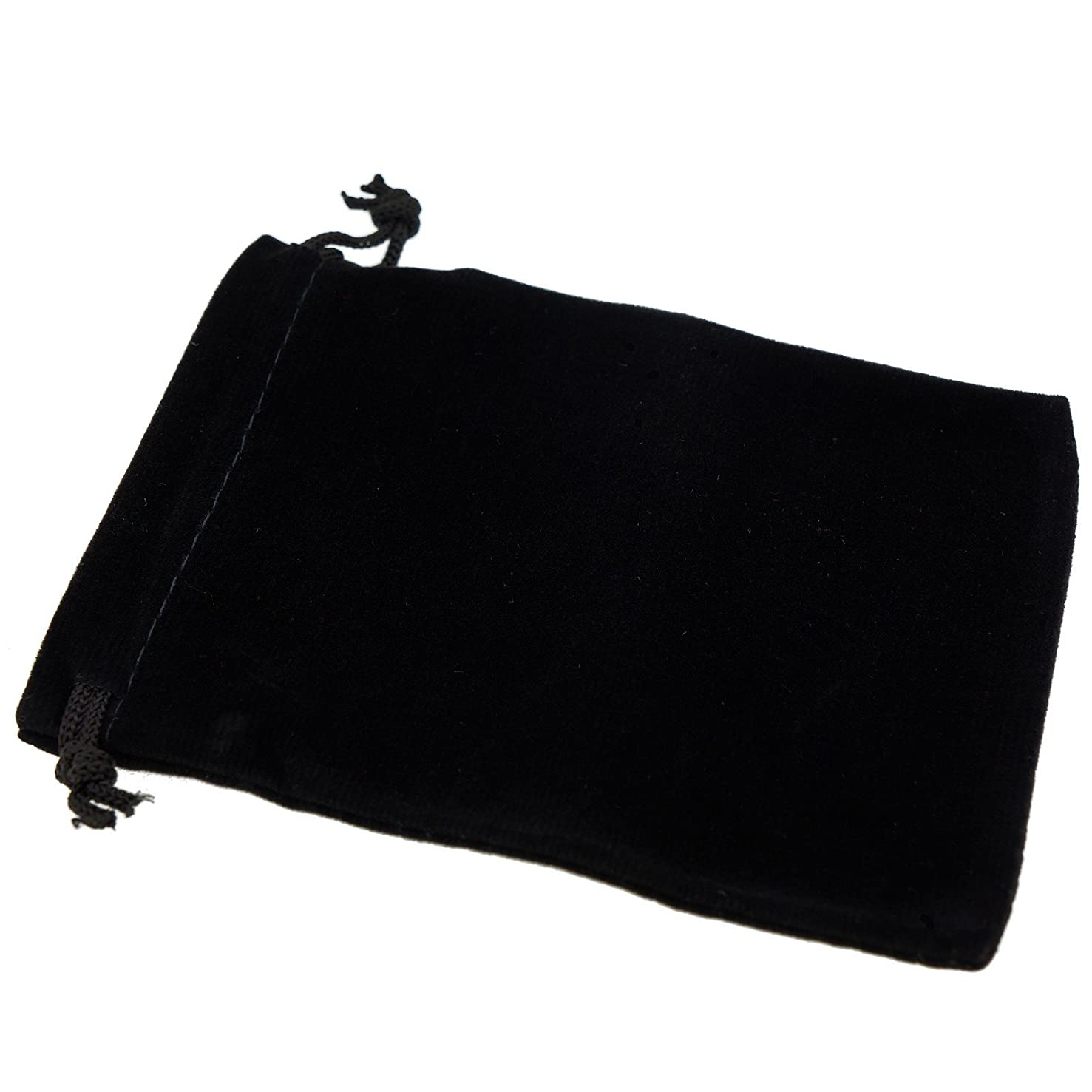 Pack of 12 Black Color Soft Velvet Pouches w Drawstrings for Jewelry Gift Packaging, 9x12cm