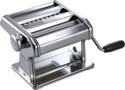 Marcato 8356 Atlas Ampia Pasta Machine, Made In Italy, Chrome Plated Steel, Silver, Includes Pasta Cutter, Hand Crank...