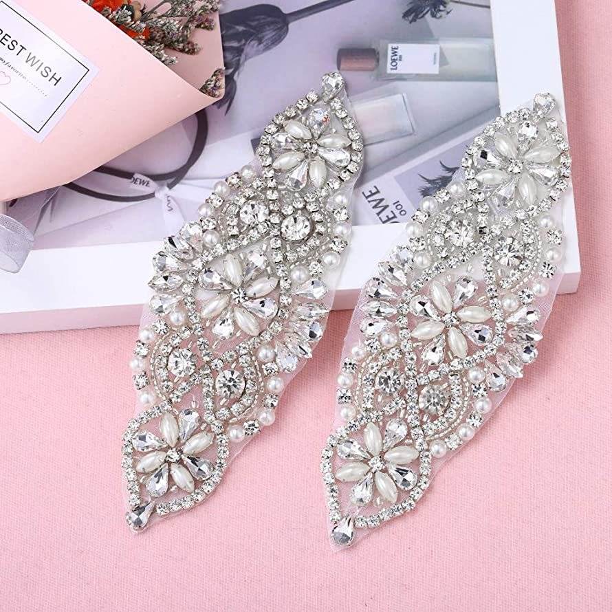2 Pieces Rhinestone Applique with Pearls Crystal Beaded Trim- Perfect for DIY Design, Wedding Cake Decoration, Flower Girl Basket, Bag Decor, Bridal Dress Accessories (Silver)