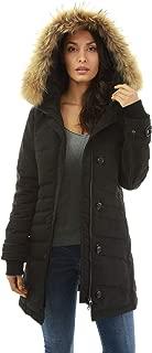 Women Fur Hooded 2 Way Zipper Down Jacket