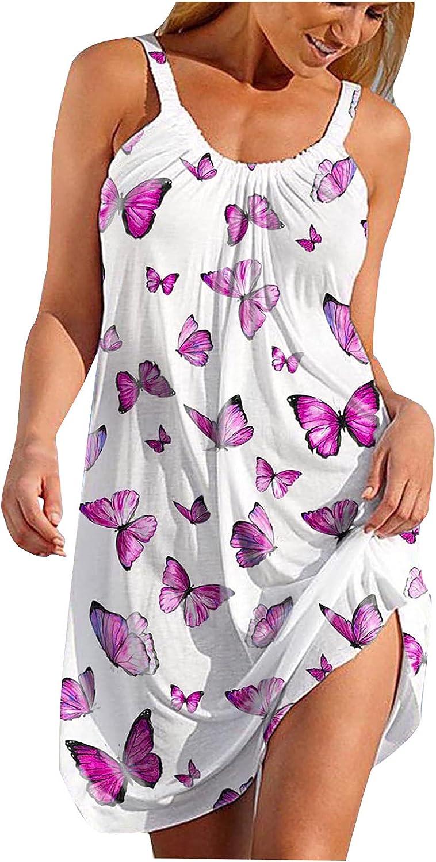 GOODTRADE8 Dresses Maxi Dress Summer Dress Sundress Women's O-Neck Sexy Sleeveless Cute Cartoon Print Hem Loose Beach Dress