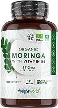 Moringa Oleifera Bio Extra Fort 1110mg - 120 Gélules Vegan Haute Absorption - Moringa Poudre Bio Certifié AB, Vitamine B6 - Source de Protéines, Antioxydants, Vitamines, Minéraux - Fabriqué en EU