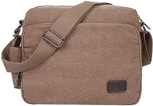 EGOGO Men's Canvas Messenger Bag Sling Shoulder Pack Daypack Cross Body Bag Satchel Bag for Work, School, and Daily Use E527-1 (Brown)