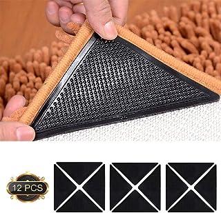 Pinzas para Alfombras, Antideslizante Alfombra - 12 Piezas Almohadilla para Alfombra Alfombrillas Lavables y Reutilizables Antideslizantes de Doble Cara para Pisos