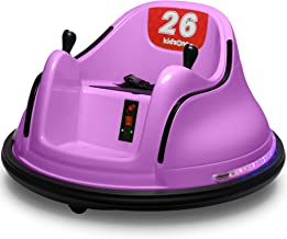 Kidzone DIY Race #00-99 6V Kids Toy Electric Ride On Bumper Car Vehicle Remote Control 360 Spin ASTM-Certified, Purple