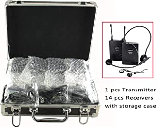 EXMAX EX-938 Wireless Headset Microphone Audio Tour Guide System for Church Translation Teaching Travel Simultaneous Interpretation.(1 Transmitter 14 Receivers with Black Aluninum Storage Case)