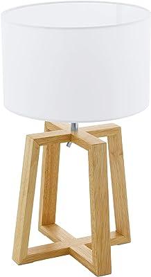 Eglo Chietino Lampe de Table 1, 1 Ampoule Nature Design Lampe de Chevet en Bois, Tissu et Acier Blanc Naturel Culot E27 Interrupteur Inclus