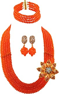 aczuv Classic African Beads Jewelry Set Nigerian Wedding Bridal Bridesmaids Jewelry Sets