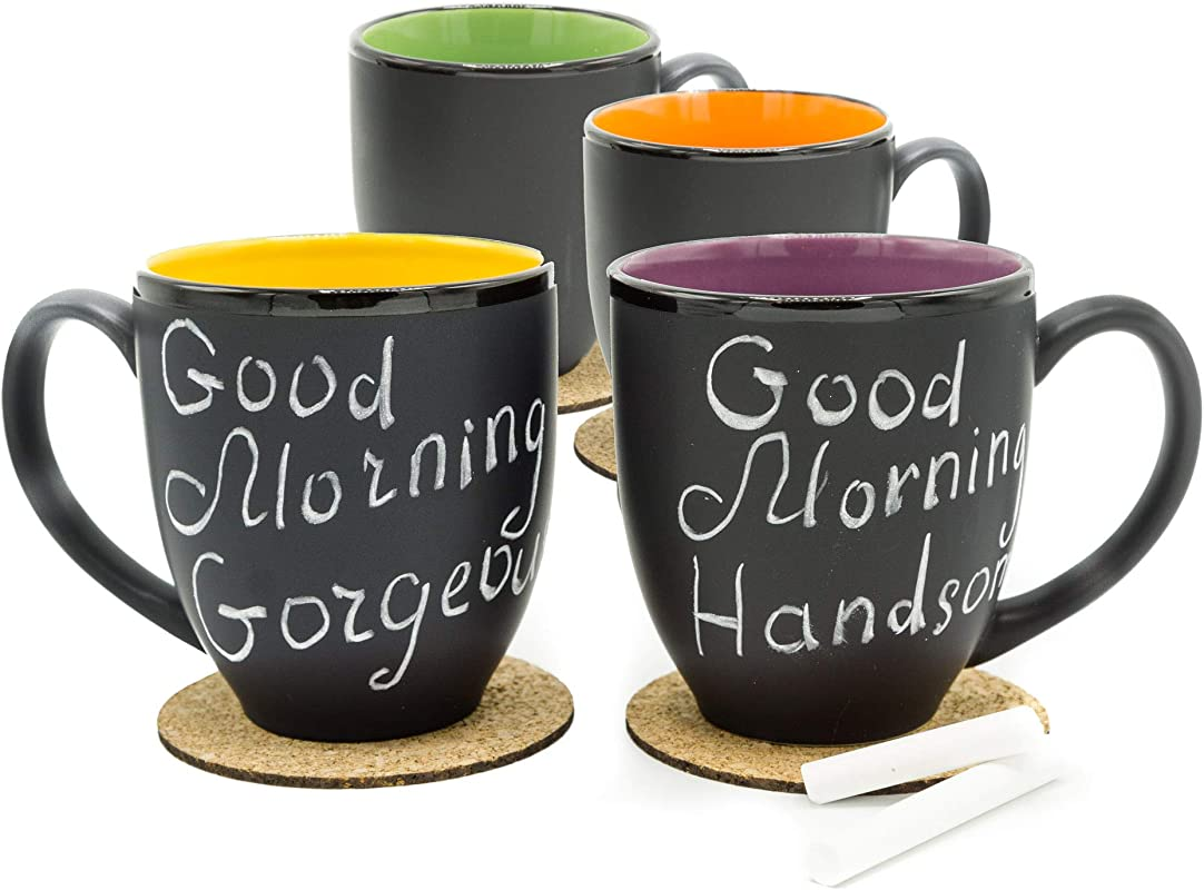 Bistro Coffee Mug Set Of 4 Large 14 Ounce Ceramic Tea Latte Cappuc Ino Cup Assorted Matte Black Mugs W Chalk And Coasters