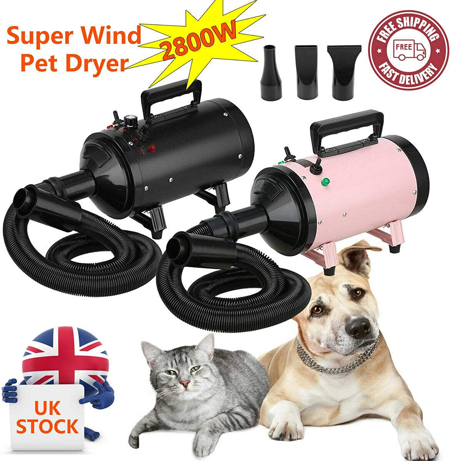 Dog Cat Pet Dryer Hair Grooming Heater Blaster Blower Hairdryer Low Noise 2 Wind Speed Safety Heater 2.5M Flexible Hose with 3 Nozzles 2800W Pink