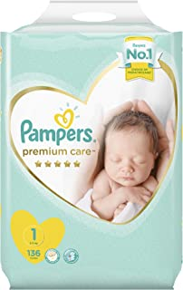 Pampers Premium care Diapers, Size 1, Newborn, 2-5 kg, Super Saver Pack, 136 Count