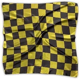 xiadayu Yellow Black Grid Silky Square bufanda Kerchief Neck bufanda Headdress