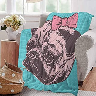 Luoiaax Pug Children's Blanket Blue Background with The Cute Pug and Its Pink Buckle Adorable Animal Design Pet Print Lightweight Soft Warm and Comfortable W54 x L72 Inch Blue Pink