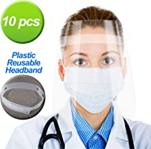 10 PCS Safety Face Shield,Detachable Adjustable Headband,Portable 1.4oz Lightweight,up to..