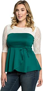 Kiyonna Women's Plus Size Paris Peplum Top