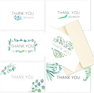 Supaper Pack of 6 Thank You Cards, Blank Note Cards with Envelopes and Stickers for Gift Cards, Business, Weddings, Baby Showers, Graduations, Corporate Events, 4 x 6 Inches